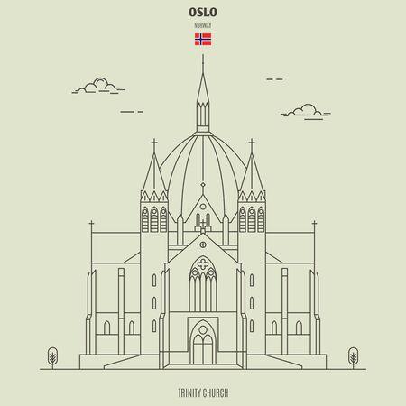 Trinity Church in Oslo, Norway. Landmark icon in linear style Çizim