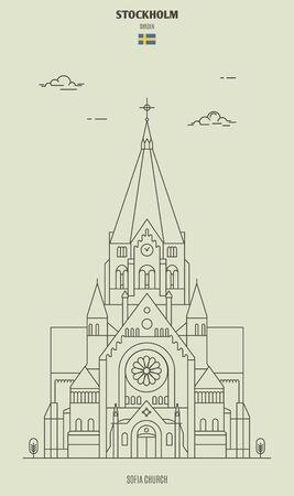 Sofia Church in Stockholm, Sweden. Landmark icon in linear style Illustration
