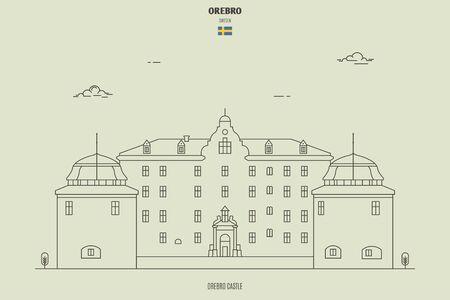 Orebro Castle, Sweden. Landmark icon in linear style Illustration
