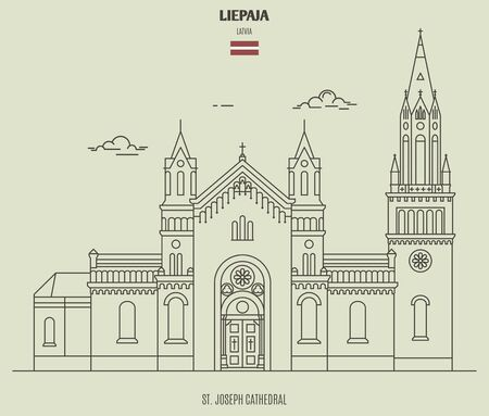 St. Joseph Cathedral in Liepaja, Latvia. Landmark icon in linear style
