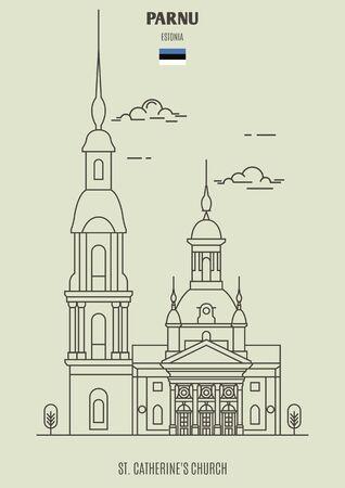 St. Catherines Church in Parnu, Estonia. Landmark icon in linear style