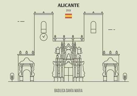 Basilica Santa Maria in Alicante, Spain. Landmark icon in linear style