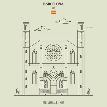 Santa Maria del Mar in Barcelona, Spain. Landmark icon in linear style Vettoriali