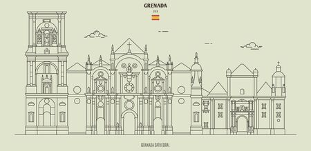 Cathedral of Granada, Spain. Landmark icon in linear style