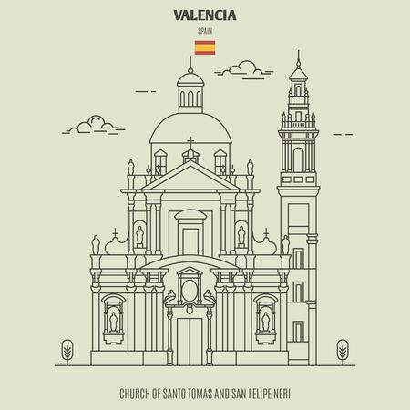 Church of Santo Tomas and San Felipe Neri in Valencia, Spain. Landmark icon in linear style Иллюстрация
