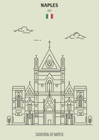 Kathedrale von Neapel (San Gennaro), Italien. Wahrzeichen im linearen Stil