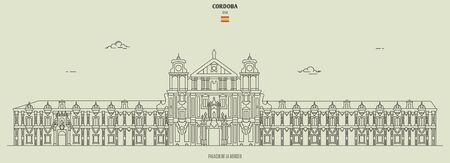 Palacio de la Merced in Cordoba, Spain. Landmark icon in linear style Illustration