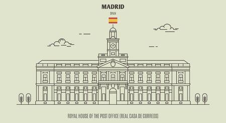 Königshaus der Post (Real Casa de Correos) in Madrid, Spanien. Wahrzeichen im linearen Stil