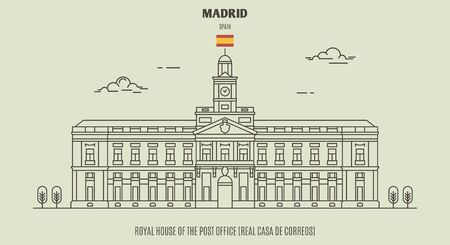 Royal House of the Post Office (Real Casa de Correos) in Madrid, Spain. Landmark icon in linear style
