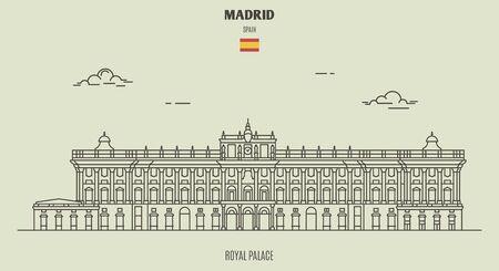 Königspalast in Madrid, Spanien. Wahrzeichen im linearen Stil