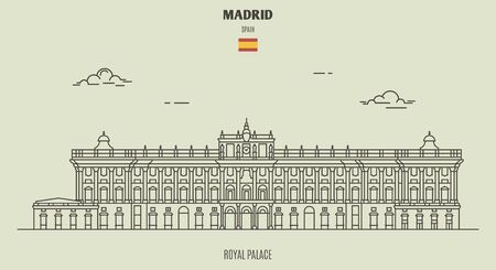 Royal Palace in Madrid, Spain. Landmark icon in linear style