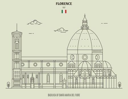 Basilica di Santa Maria del Fiore a Firenze, Italia. Icona punto di riferimento in stile lineare