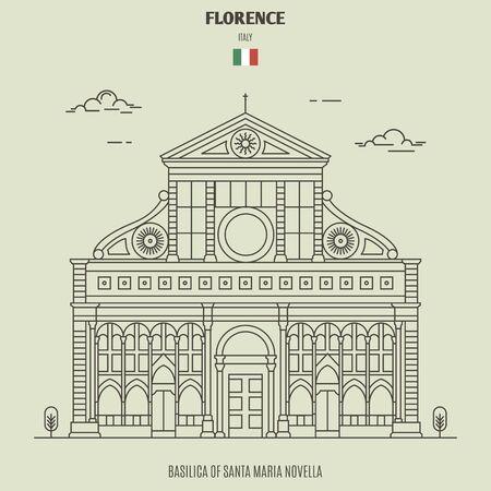 Basilica of Santa Maria Novella in Florence, Italy. Landmark icon in linear style