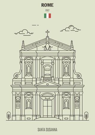 Santa Susanna in Rome, Italy. Landmark icon in linear style Archivio Fotografico - 135254648