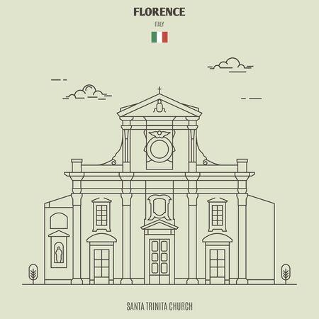 Chiesa di Santa Trinita a Firenze, Italia. Icona punto di riferimento in stile lineare