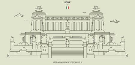 Vittoriano, Monument to Victor Emmanuel II in Rome, Italy. Landmark icon in linear style Archivio Fotografico - 135254679