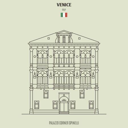 Palazzo Corner Spinelli en Venecia, Italia. Icono de hito en estilo lineal