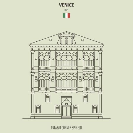 Palazzo Corner Spinelli in Venice, Italy. Landmark icon in linear style