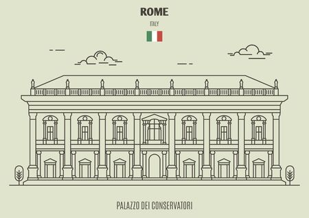 Palazzo dei Conservatori  in Rome, Italy. Landmark icon in linear style