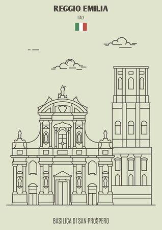 Basilica Di San Prospero in Reggio Emilia, Italy. Landmark icon in linear style