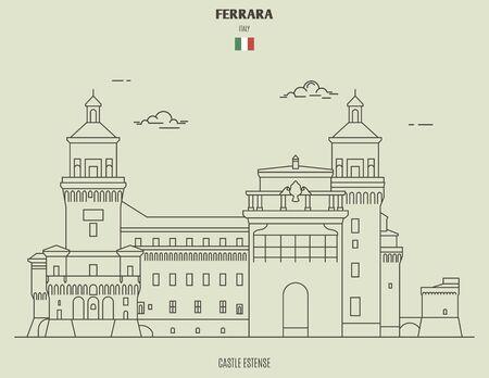 Castle Estense in Ferrara, Italy. Landmark icon in linear style