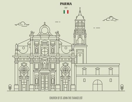 Church of St John the Evangelist in Parma, Italy. Landmark icon in linear style