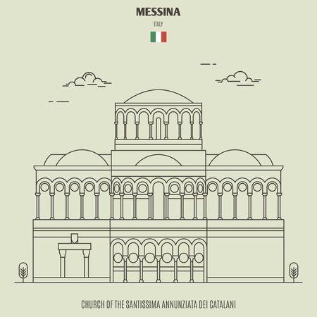 Church of the Santissima Annunziata dei Catalani in Verona, Italy. Landmark icon in linear style