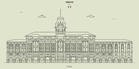 City Hall in Trieste, Italy. Landmark icon in linear style