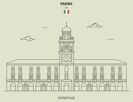 Governor Palace in Parma, Italy. Landmark icon in linear style Illusztráció
