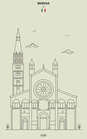 Modena cathedral, Italy. Landmark icon in linear style