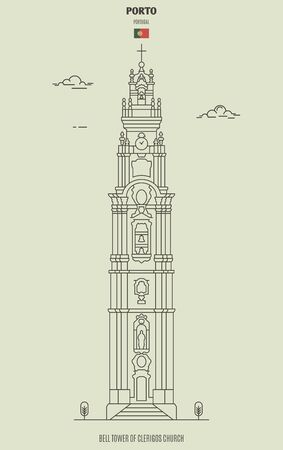 Bell tower of Clerigos church in Porto, Portugal. Landmark icon in linear style