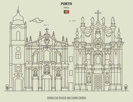Carmelitas Church and  Carmo Church in Porto, Portugal. Landmark icon in linear style