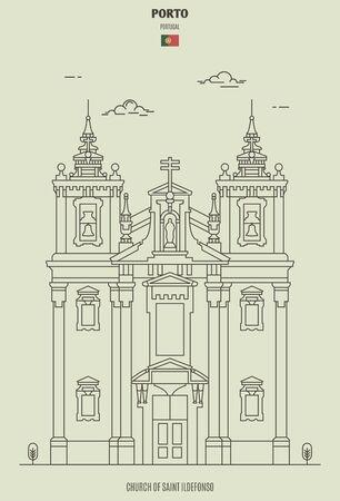 Church of Saint Ildefonso in Porto, Portugal. Landmark icon in linear style 向量圖像