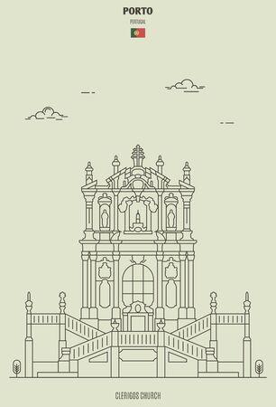 Clerigos Church in Porto, Portugal. Landmark icon in linear style