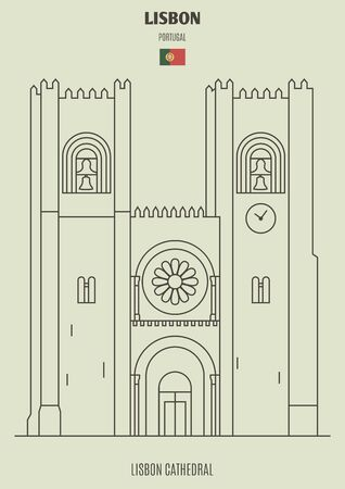 Lisbon Cathedral, Portugal. Landmark icon in linear style