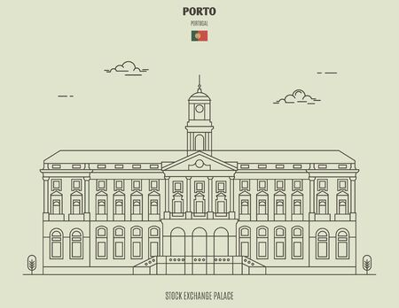 Stock Exchange Palace in Porto, Portugal. Landmark icon in linear style 矢量图像