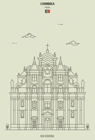 New Cathedral of Coimbra, Portugal. Landmark icon in linear style