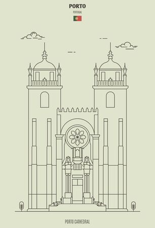 Porto Cathedral, Portugal. Landmark icon in linear style 矢量图像
