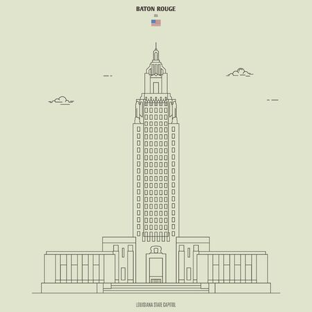 Louisiana State Capitol in Baton Rouge, USA. Landmark icon in linear style