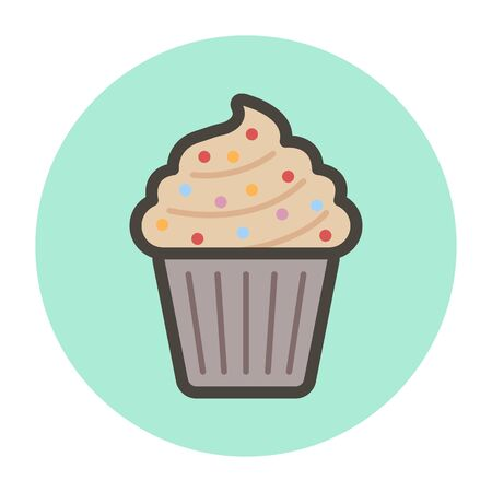 Cake-basket with cream. Vector flat style for you design