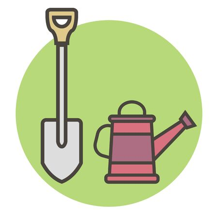 Garden supplies. Shovel and watering can. Vector flat style for you design 矢量图像