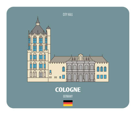 City Hall in Cologne, Germany. Architectural symbols of European cities. Colorful vector 矢量图像
