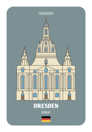 Frauenkirche in Dresden, Germany. Architectural symbols of European cities. Colorful vector