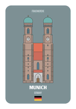 Frauenkirche in Munich, Germany. Architectural symbols of European cities. Colorful vector