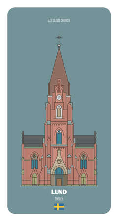 All Saints Church in Lund, Sweden. Architectural symbols of European cities
