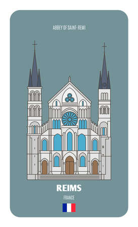 Abbey of Saint-Remi in Reims, France. Architectural symbols of European cities. Architectural symbols of European cities.
