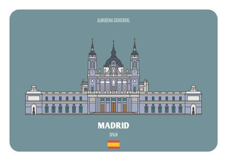 Almudena Cathedral in Madrid, Spain. Architectural symbols of European cities