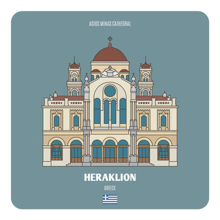 Agios Minas Cathedral in Heraklion, Greece. Architectural symbols of European cities. Architectural symbols of European cities.