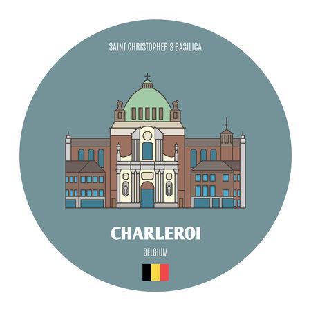 Saint Christopher's Basilica in Charleroi, Belgium. Architectural symbols of European cities. Colorful vector