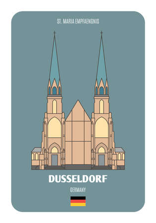 St. Maria Empfaengnis in Dusseldorf, Germany. Architectural symbols of European cities. Colorful vector